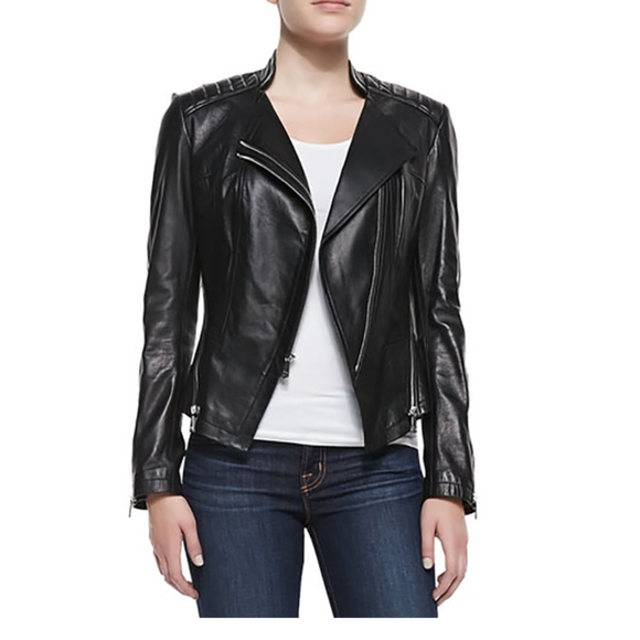 Dawn Levy Jackets Coats Quilted Shoulder Leather Moto Jacket